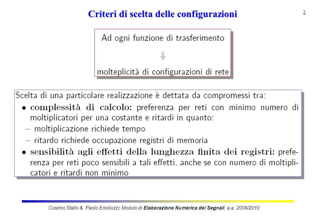Criteri di scelta delle configurazioni