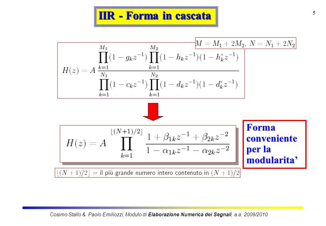 IIR - Forma in cascata Forma conveniente per la modularita'