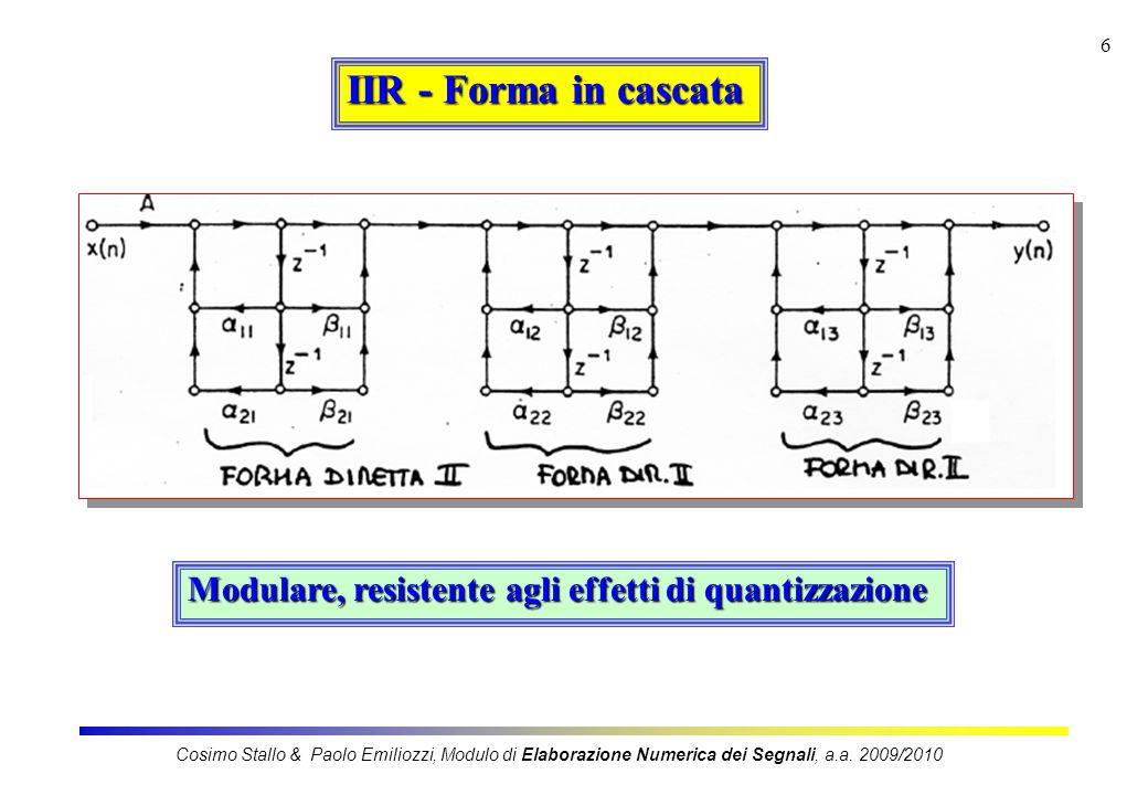 IIR - Forma in cascata Modulare, resistente agli effetti di quantizzazione.