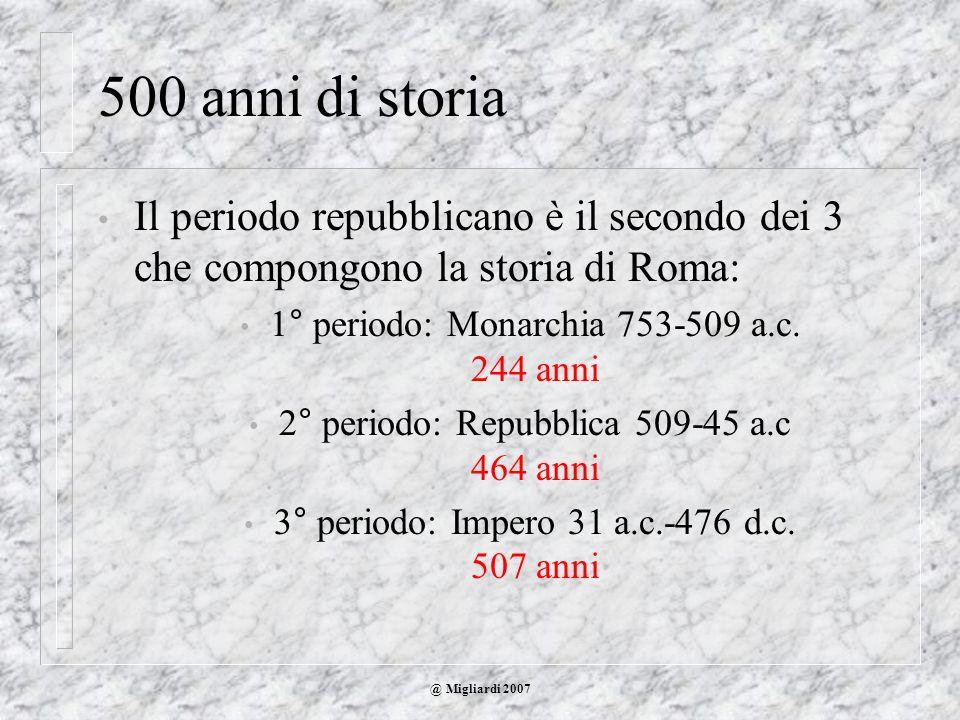 500 anni di storiaIl periodo repubblicano è il secondo dei 3 che compongono la storia di Roma: 1° periodo: Monarchia 753-509 a.c. 244 anni.