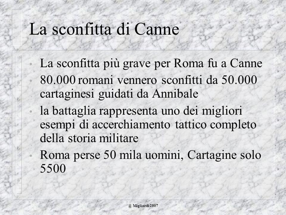 La sconfitta di Canne La sconfitta più grave per Roma fu a Canne