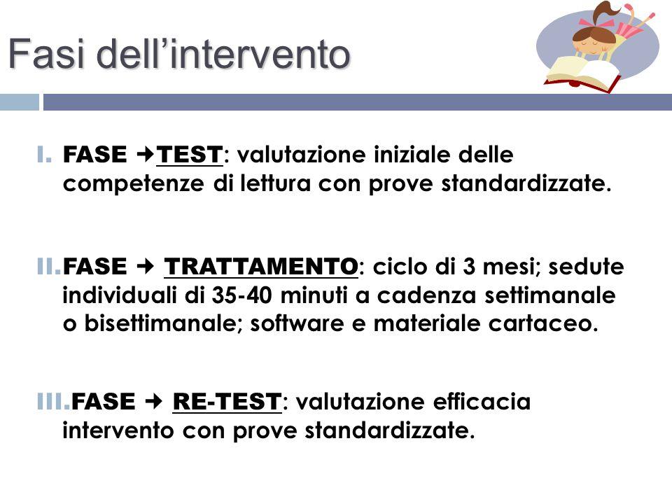 Fasi dell'intervento FASE TEST: valutazione iniziale delle competenze di lettura con prove standardizzate.
