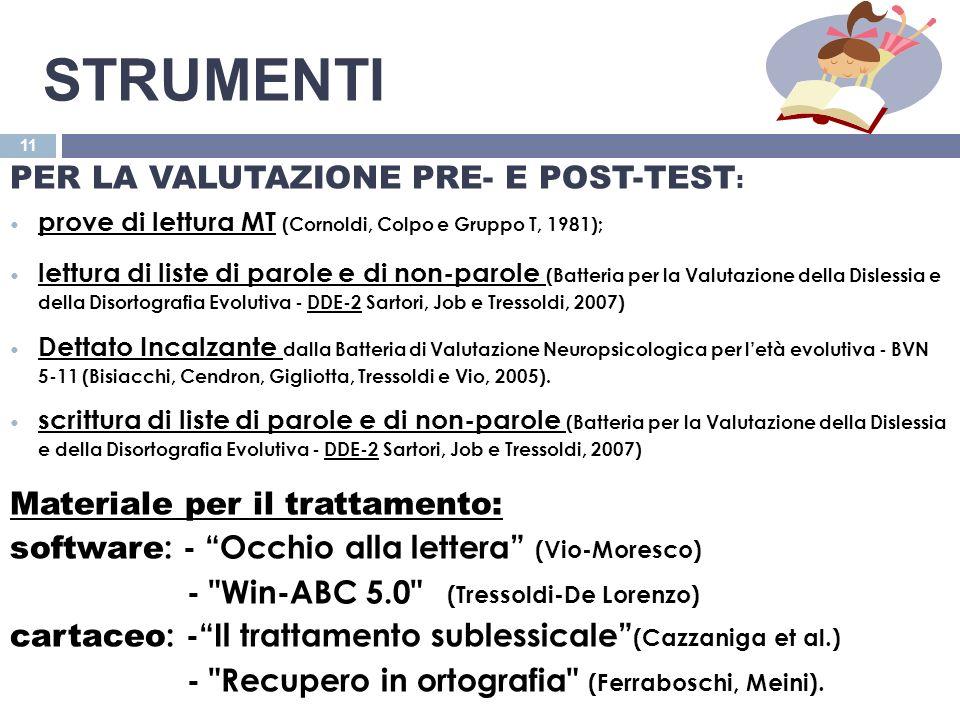 Strumenti PER LA VALUTAZIONE PRE- E POST-TEST: