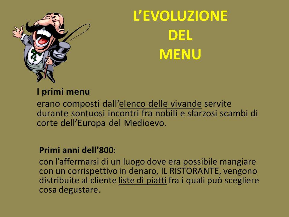 L'EVOLUZIONE DEL MENU I primi menu