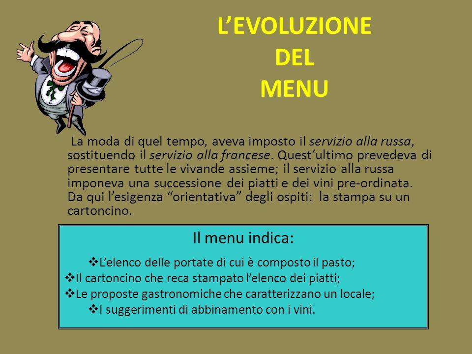 L'EVOLUZIONE DEL MENU Il menu indica: