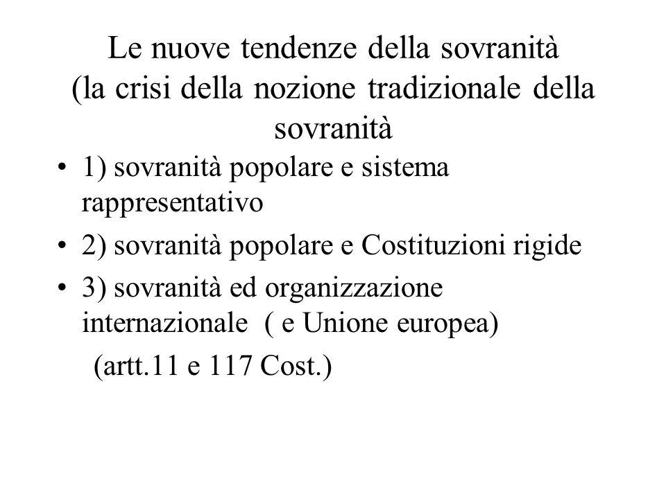 Le nuove tendenze della sovranità (la crisi della nozione tradizionale della sovranità