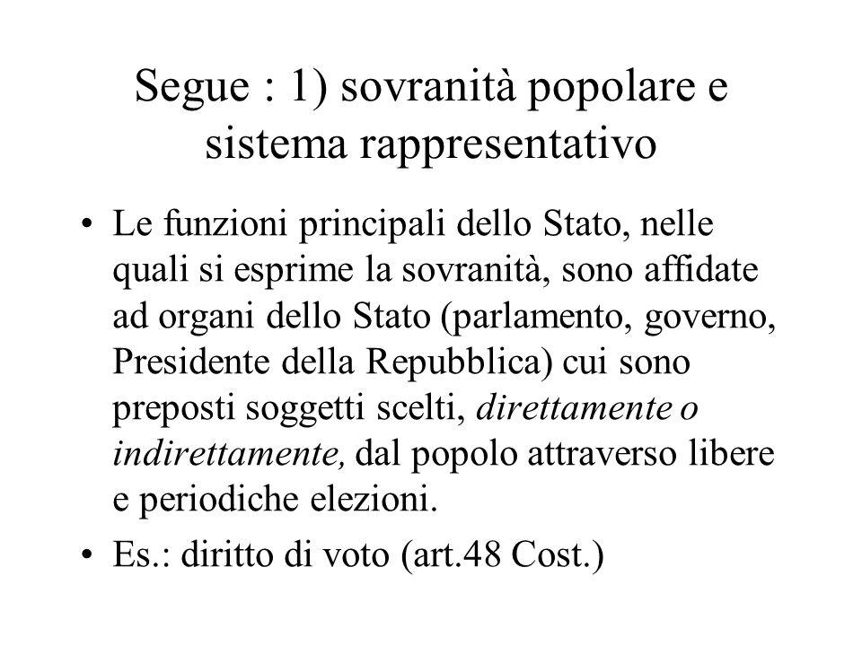 Segue : 1) sovranità popolare e sistema rappresentativo