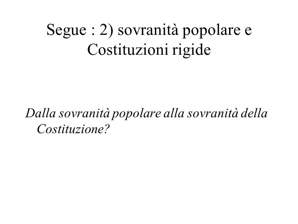 Segue : 2) sovranità popolare e Costituzioni rigide