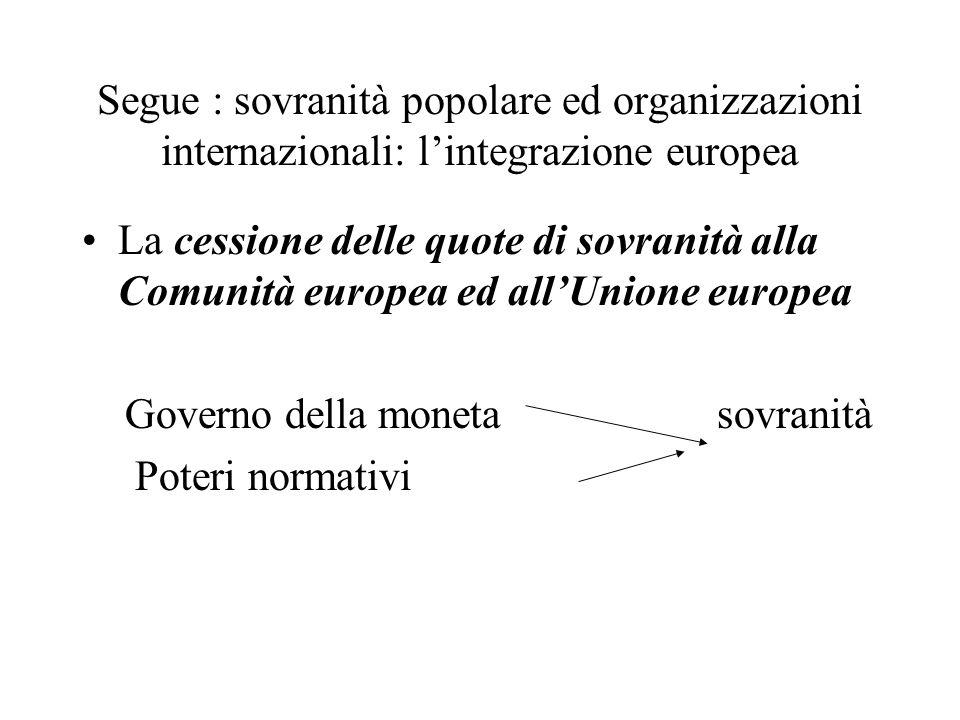 Segue : sovranità popolare ed organizzazioni internazionali: l'integrazione europea