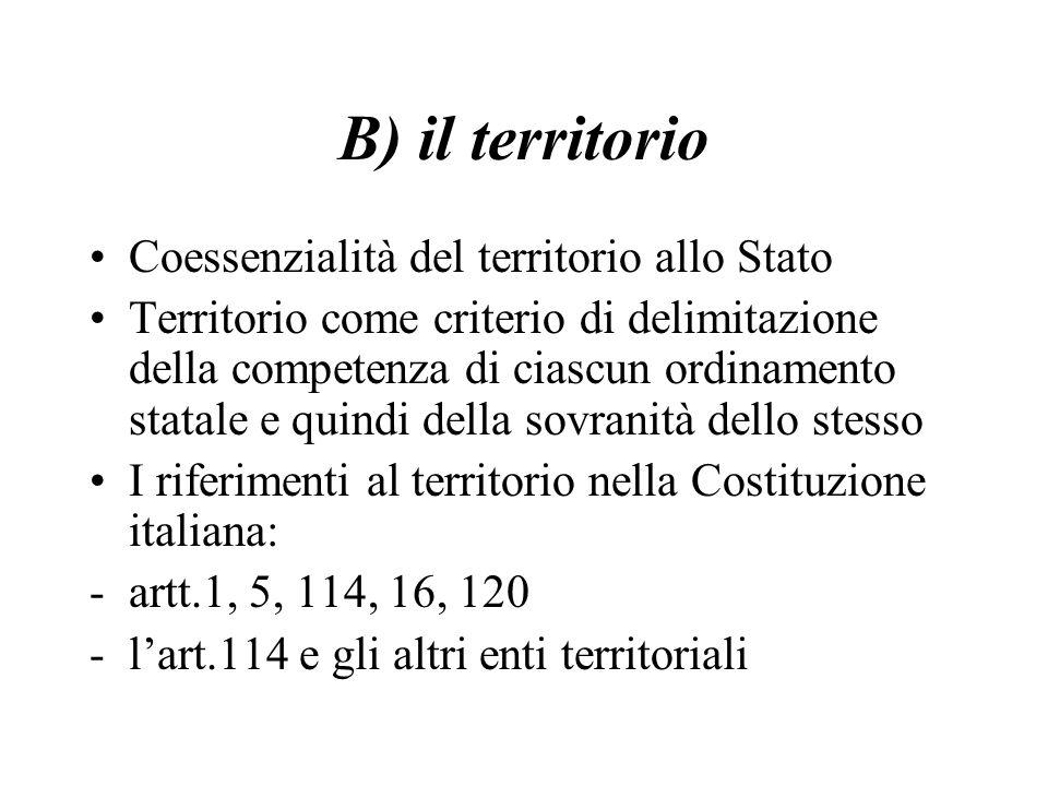 B) il territorio Coessenzialità del territorio allo Stato