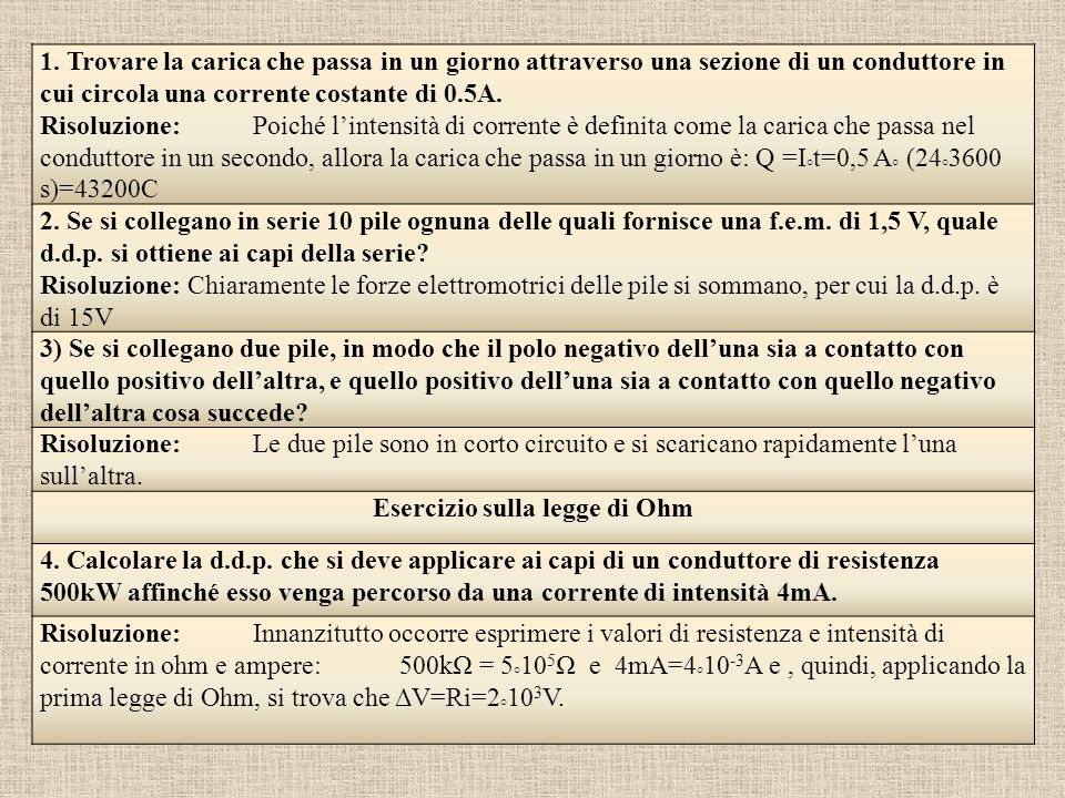 Esercizio sulla legge di Ohm