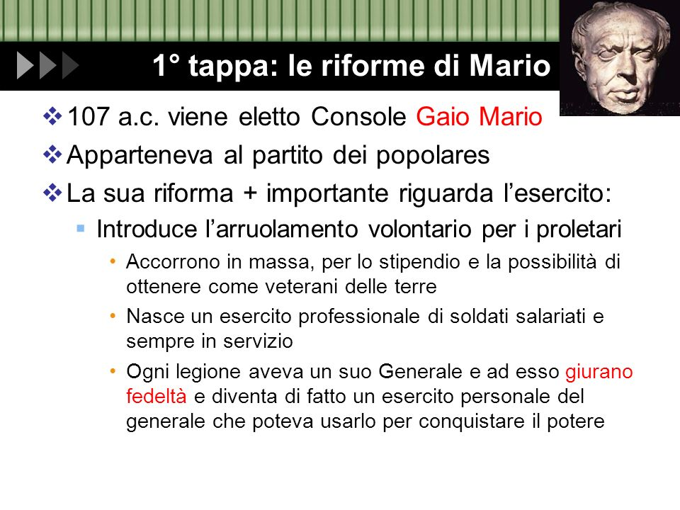 1° tappa: le riforme di Mario