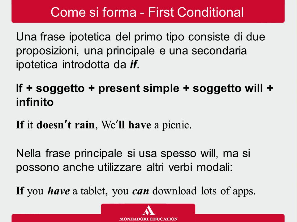 Come si forma - First Conditional