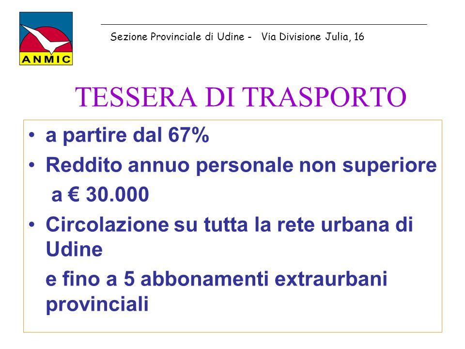 TESSERA DI TRASPORTO a partire dal 67%