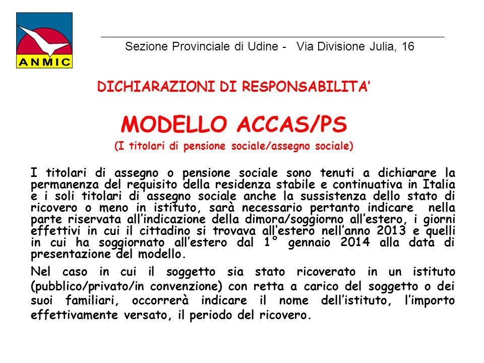 MODELLO ACCAS/PS DICHIARAZIONI DI RESPONSABILITA'
