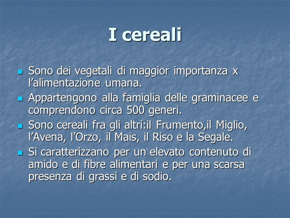 I cerealiSono dei vegetali di maggior importanza x l'alimentazione umana.
