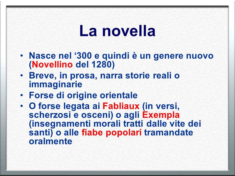 La novella Nasce nel '300 e quindi è un genere nuovo (Novellino del 1280) Breve, in prosa, narra storie reali o immaginarie.