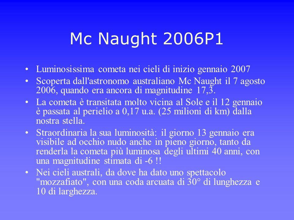 Mc Naught 2006P1 Luminosissima cometa nei cieli di inizio gennaio 2007