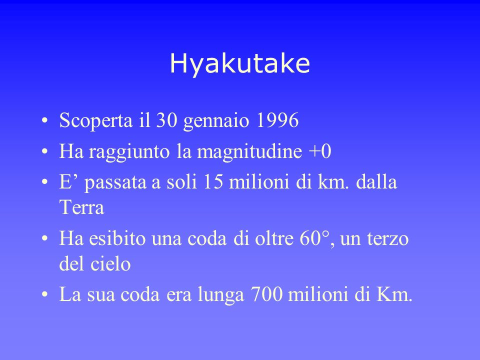 Hyakutake Scoperta il 30 gennaio 1996 Ha raggiunto la magnitudine +0