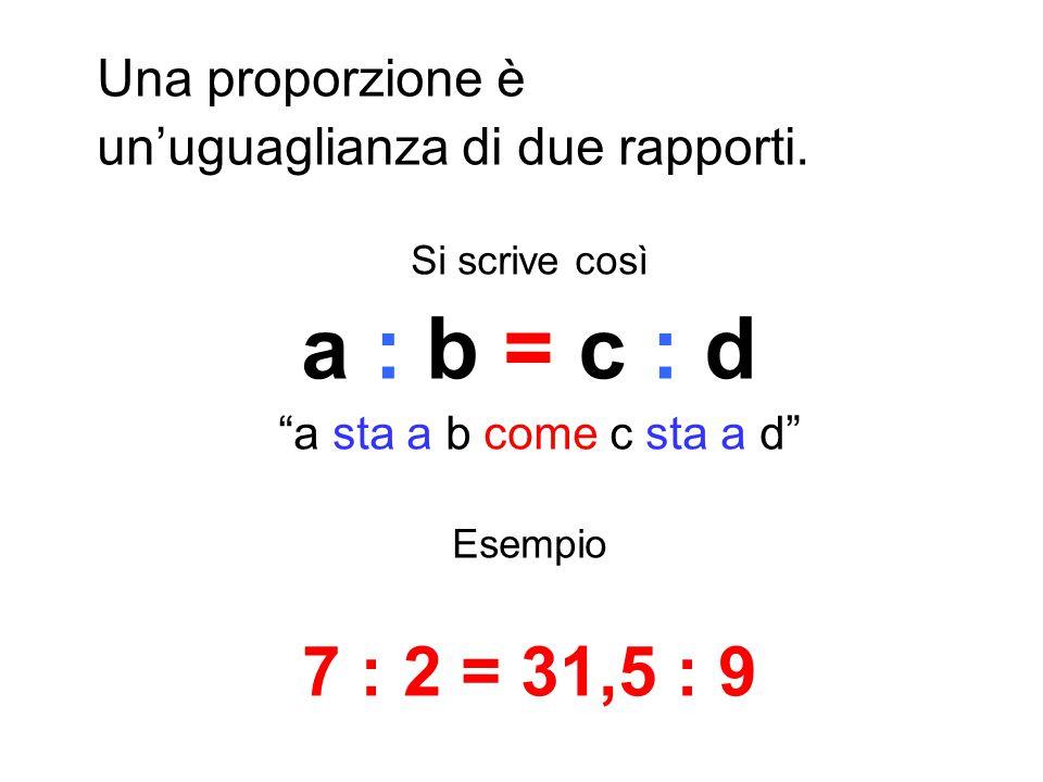 a : b = c : d 7 : 2 = 31,5 : 9 Una proporzione è