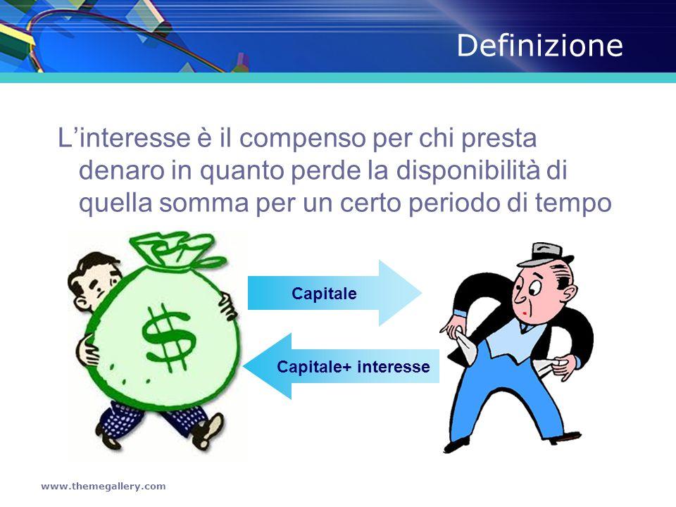 DefinizioneL'interesse è il compenso per chi presta denaro in quanto perde la disponibilità di quella somma per un certo periodo di tempo.