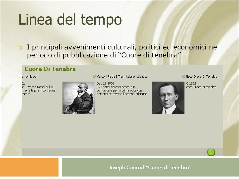 Linea del tempo I principali avvenimenti culturali, politici ed economici nel periodo di pubblicazione di Cuore di tenebra