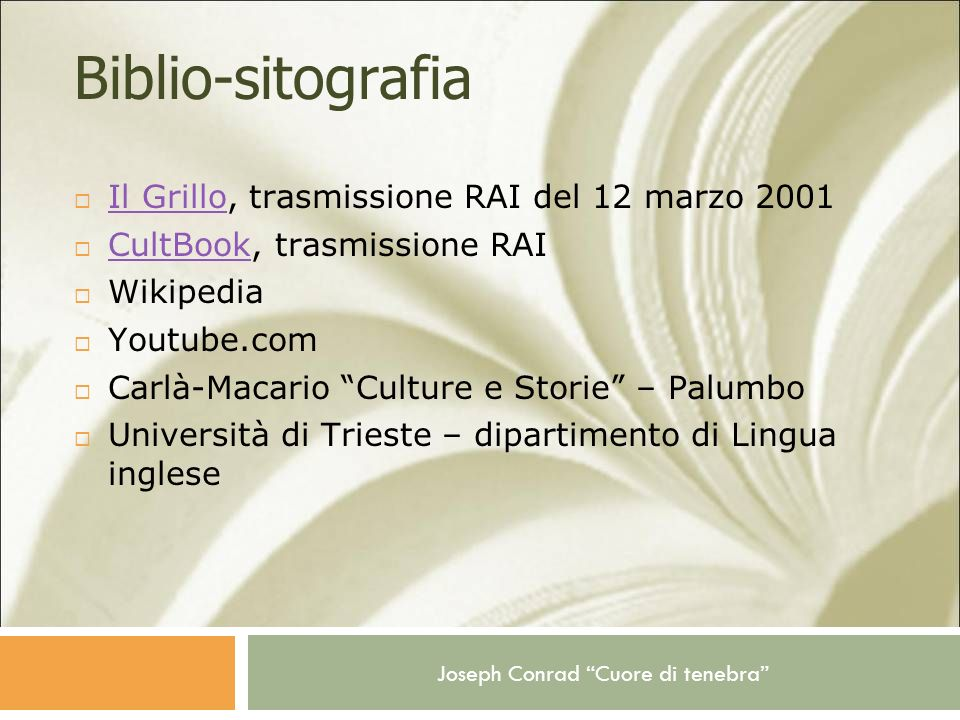 Biblio-sitografia Il Grillo, trasmissione RAI del 12 marzo 2001