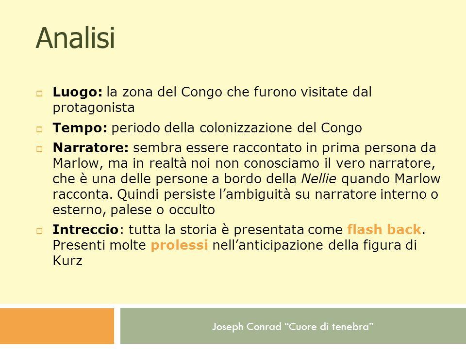 Analisi Luogo: la zona del Congo che furono visitate dal protagonista