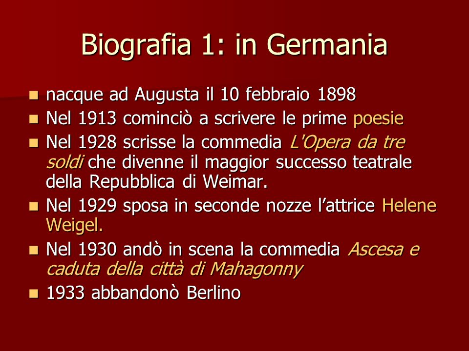 Biografia 1: in Germania