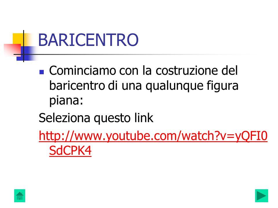 BARICENTRO Cominciamo con la costruzione del baricentro di una qualunque figura piana: Seleziona questo link.