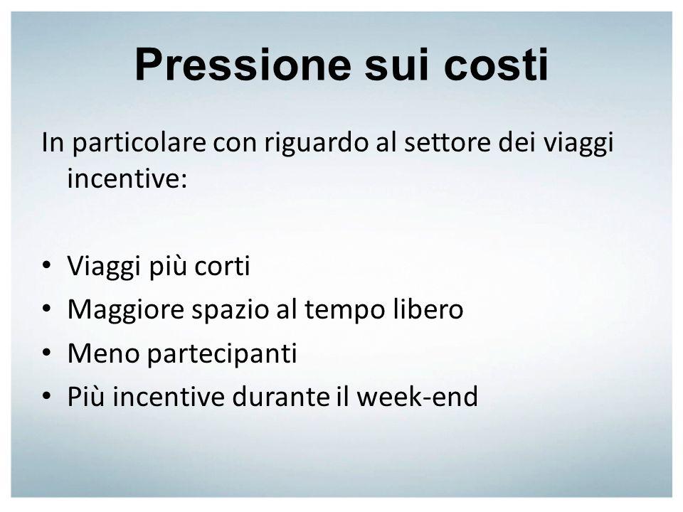 Pressione sui costi In particolare con riguardo al settore dei viaggi incentive: Viaggi più corti.