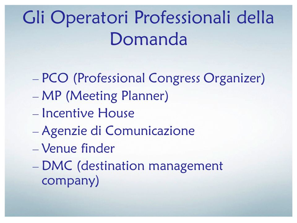 Gli Operatori Professionali della Domanda