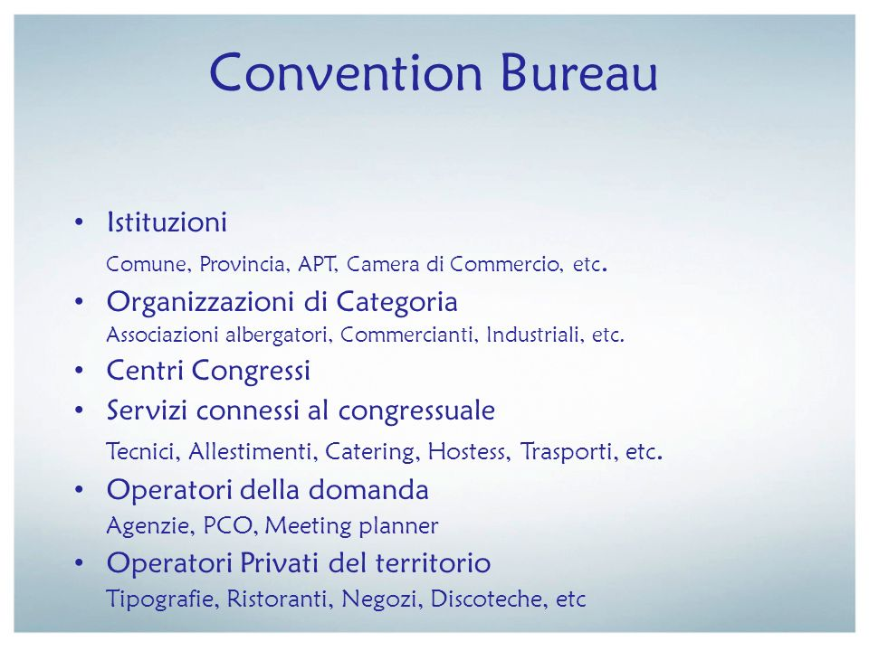 Convention Bureau Istituzioni Organizzazioni di Categoria