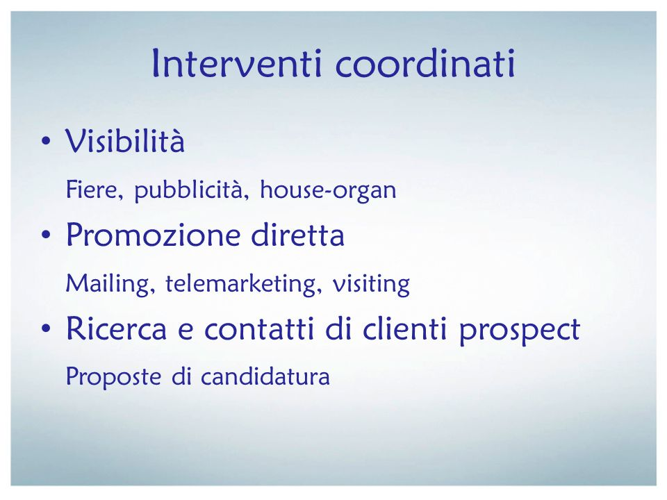 Interventi coordinati