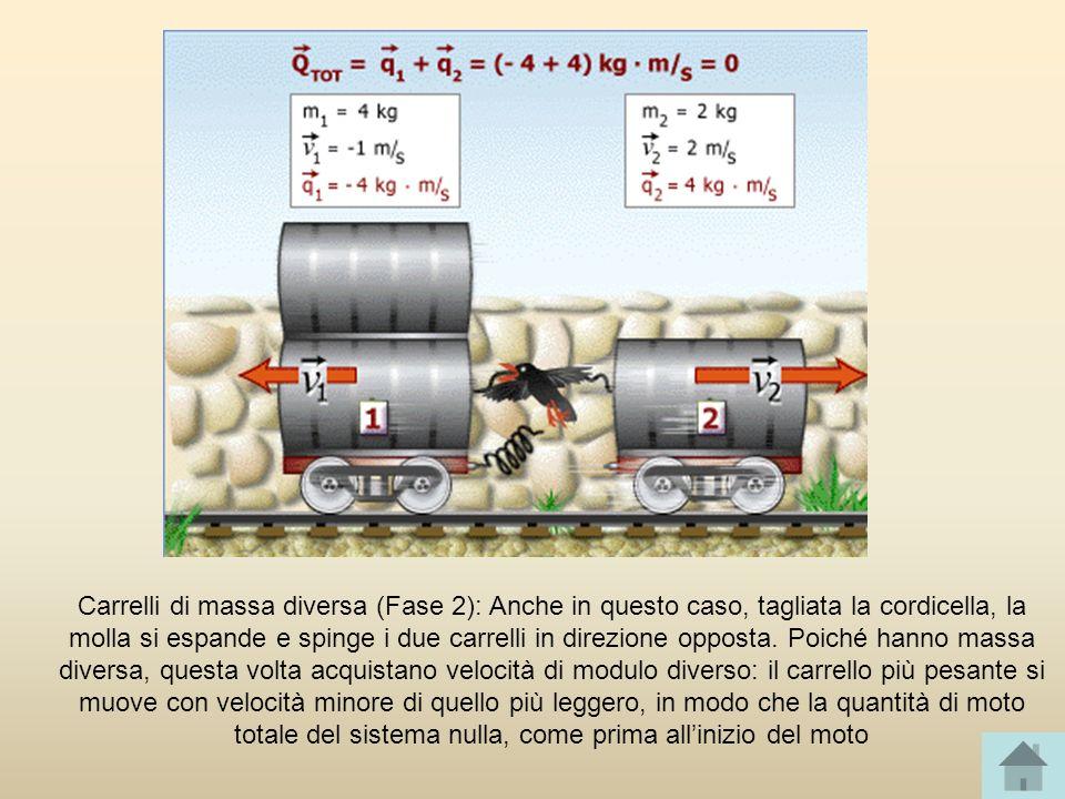 Carrelli di massa diversa (Fase 2): Anche in questo caso, tagliata la cordicella, la molla si espande e spinge i due carrelli in direzione opposta.