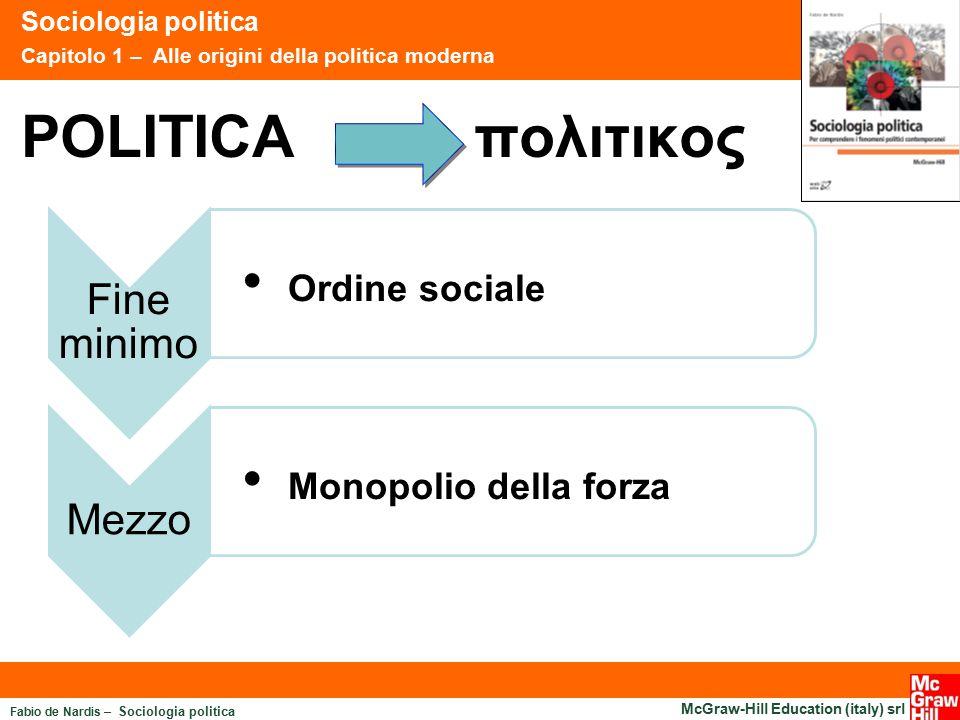 Ordine sociale POLITICA πολιτικος Monopolio della forza Fine minimo