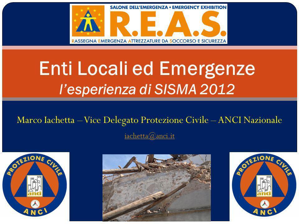 Enti Locali ed Emergenze l'esperienza di SISMA 2012