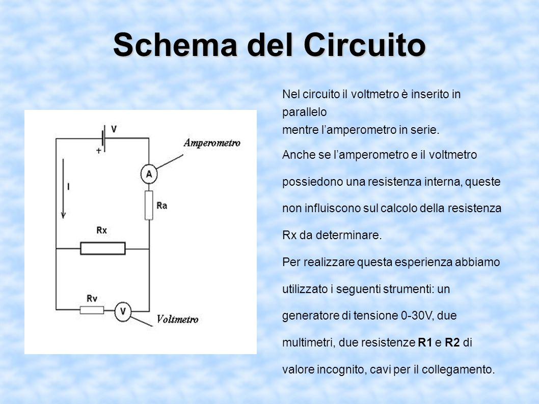 Schema del Circuito Nel circuito il voltmetro è inserito in parallelo
