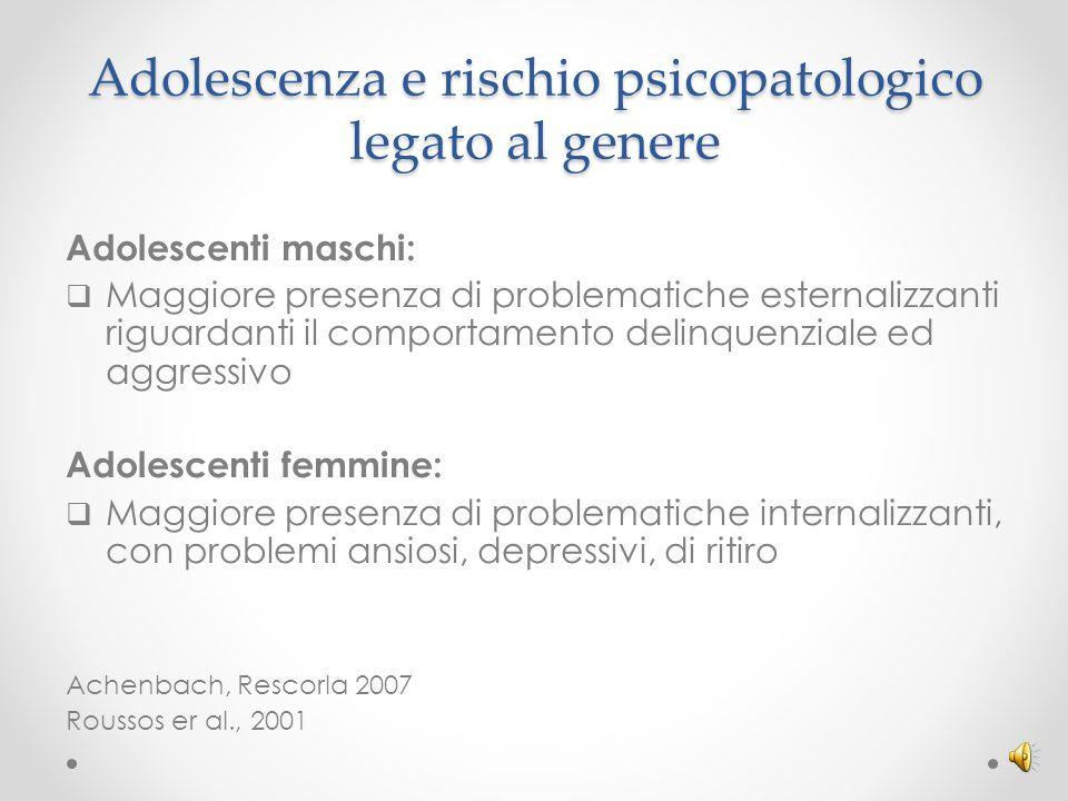 Adolescenza e rischio psicopatologico legato al genere