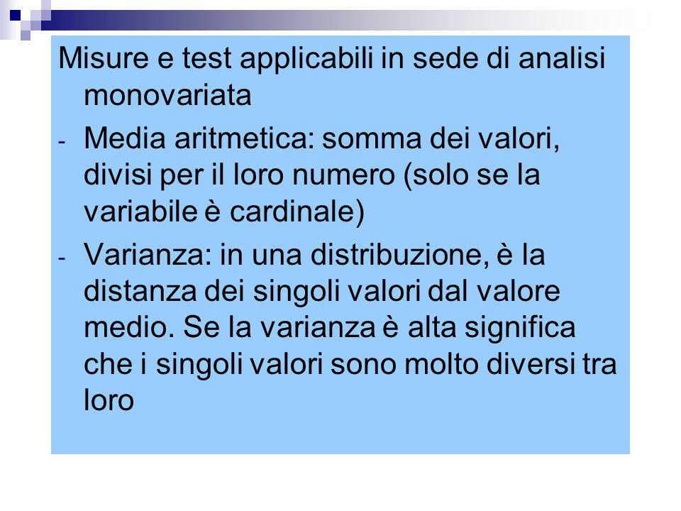 Misure e test applicabili in sede di analisi monovariata