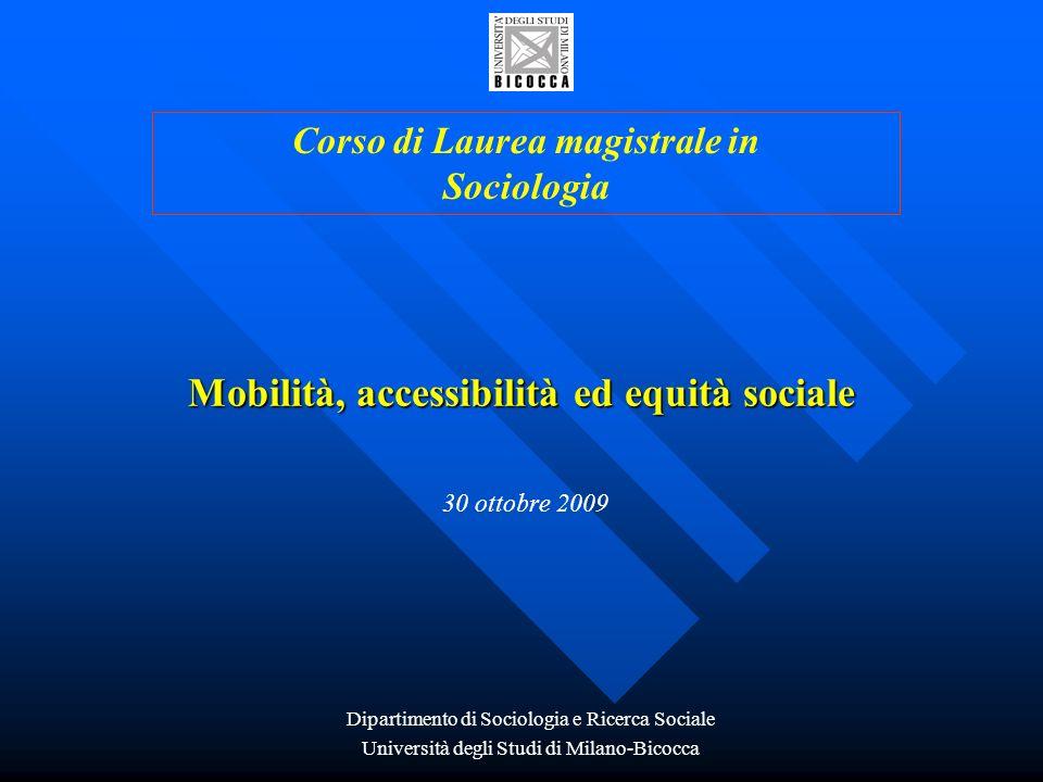Mobilità, accessibilità ed equità sociale