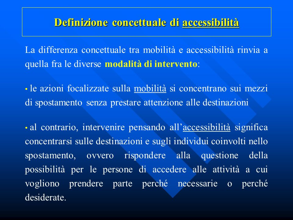 Definizione concettuale di accessibilità