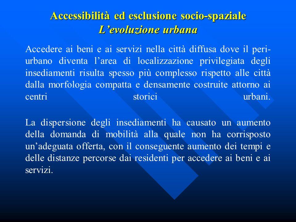 Accessibilità ed esclusione socio-spaziale L'evoluzione urbana