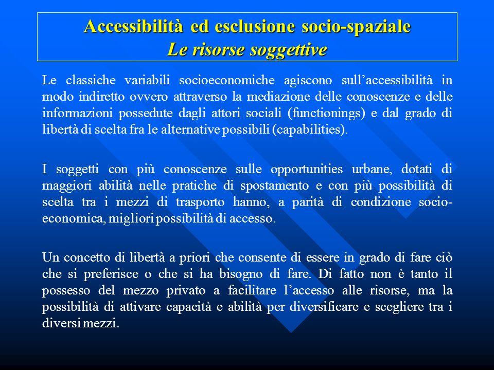Accessibilità ed esclusione socio-spaziale Le risorse soggettive
