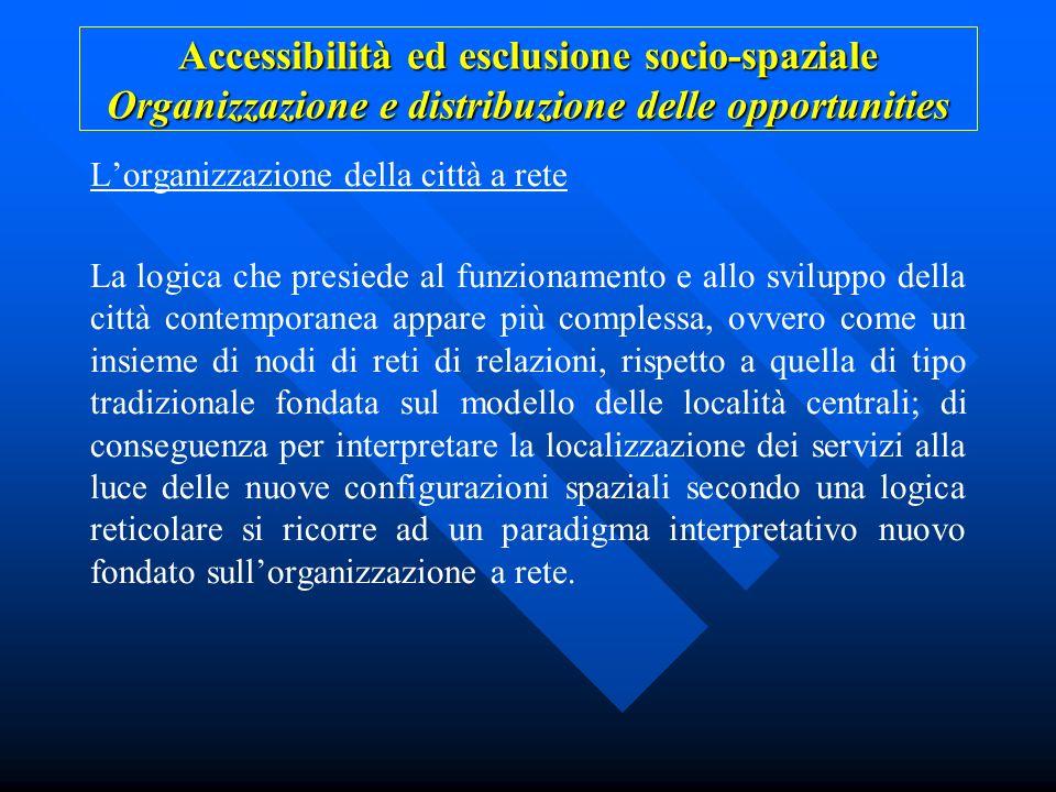 Accessibilità ed esclusione socio-spaziale Organizzazione e distribuzione delle opportunities