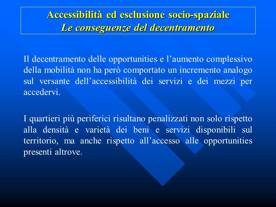 Accessibilità ed esclusione socio-spaziale Le conseguenze del decentramento