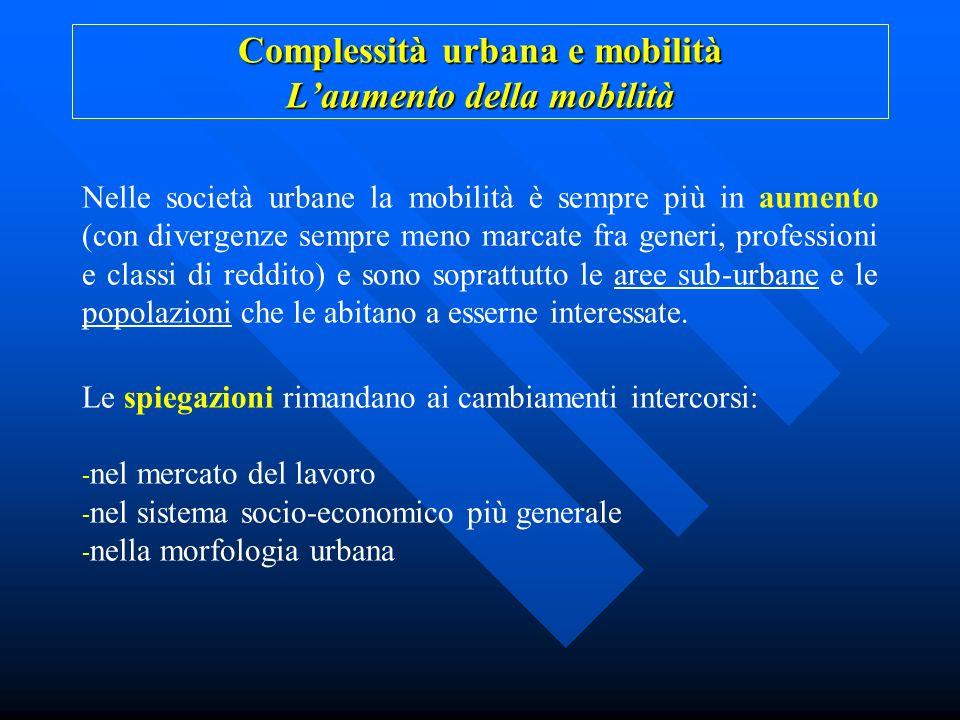 Complessità urbana e mobilità L'aumento della mobilità