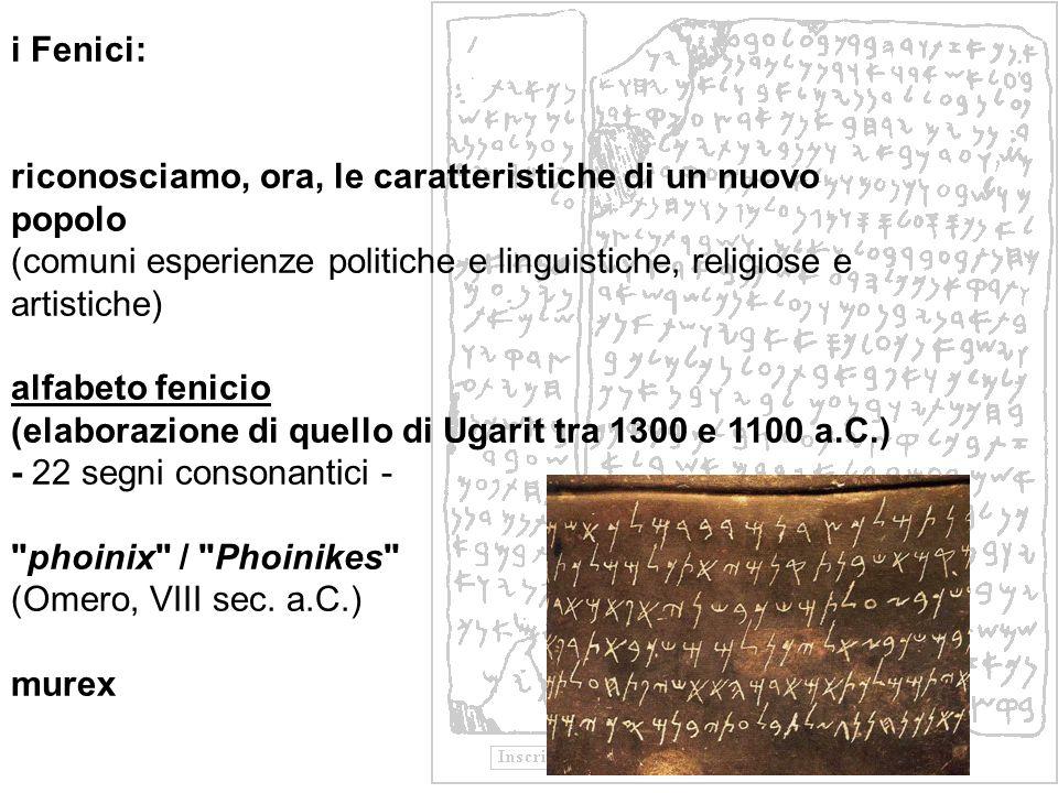 i Fenici: riconosciamo, ora, le caratteristiche di un nuovo popolo. (comuni esperienze politiche e linguistiche, religiose e artistiche)