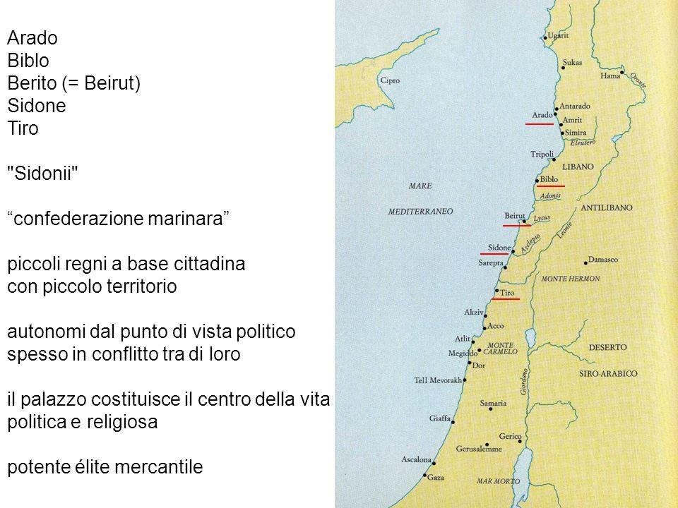 Arado Biblo. Berito (= Beirut) Sidone. Tiro. Sidonii confederazione marinara piccoli regni a base cittadina.