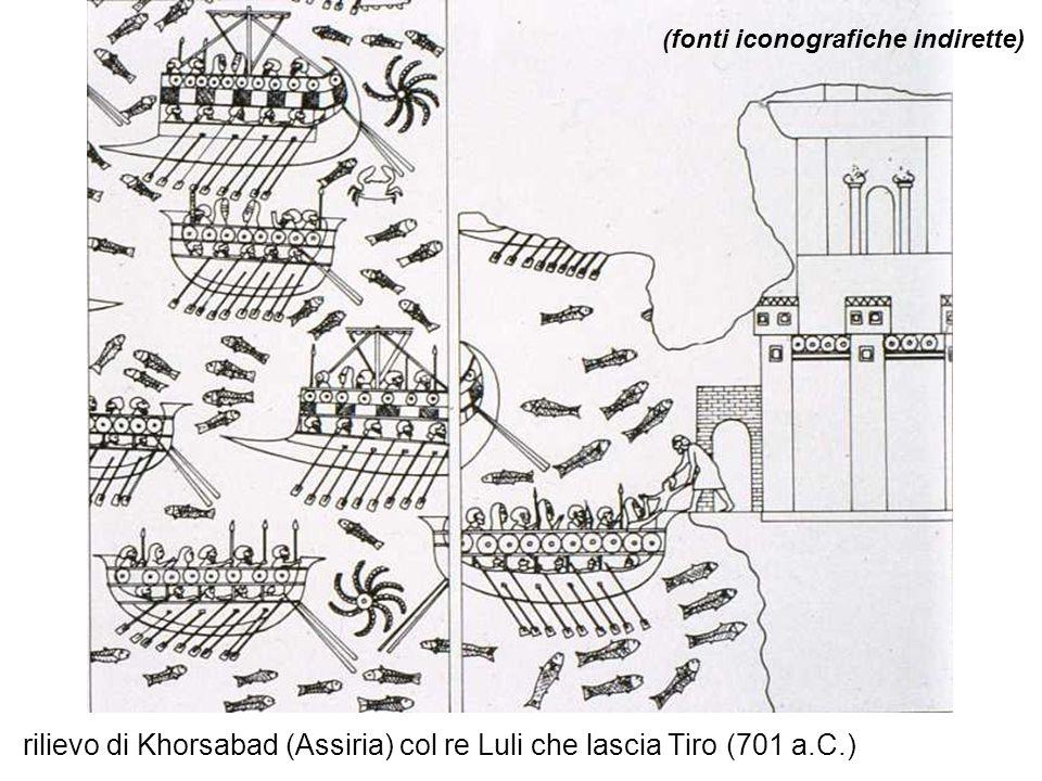 rilievo di Khorsabad (Assiria) col re Luli che lascia Tiro (701 a.C.)